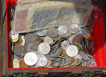 greek coins: Bunch of greek drachma coins and banknote money