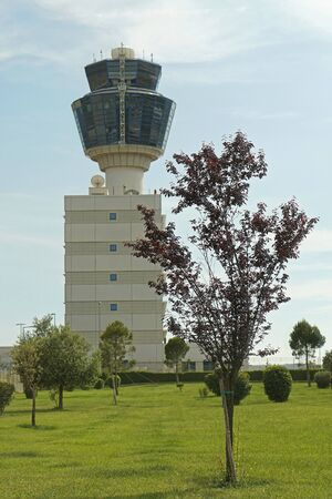 control tower: Flight control tower at Athens airport