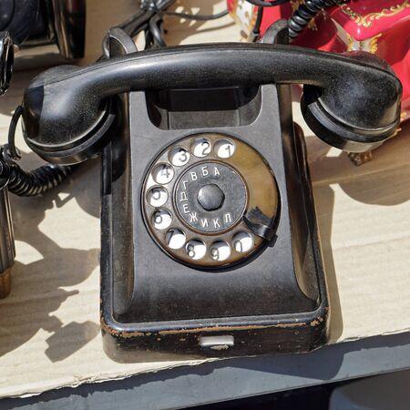 bakelite: Black bakelite retro telephone at flea market Stock Photo