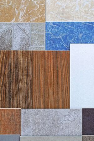 Ceramic tiles in various patterns and colors