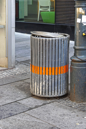 public waste: Litter waste bin at street for public use Stock Photo