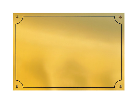Gold plaque empty isolated with clipping path Stock Photo