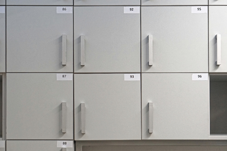 compartments: Small lockers storage compartments with numbers Stock Photo