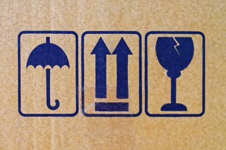 handle with care: Handle with care at cardboard package box