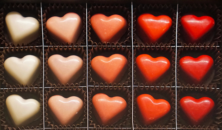 pralines: Heart shape chocolate pralines in the box