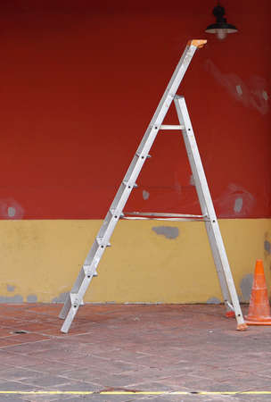 stepladder: Self supporting stepladder at construction site