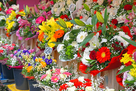 Fresh flowers bouquets at flower shop Stock Photo