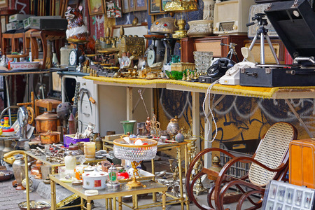antique vase: Various antique objects for sale at flea market