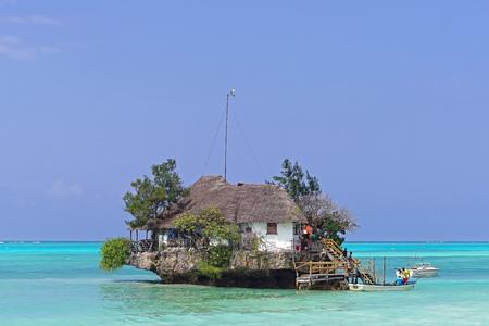 Zanzibar, Tanzania - July 20, 2017: The Rock restaurant on small island in Zanzibar, Tanzania.