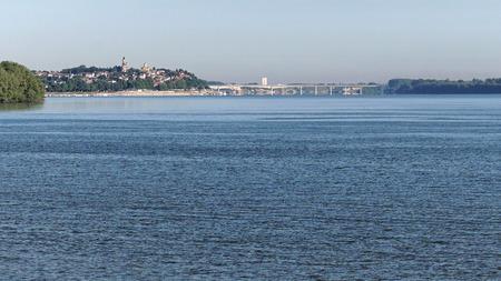 New bridge over Danube river in Zemun Serbia