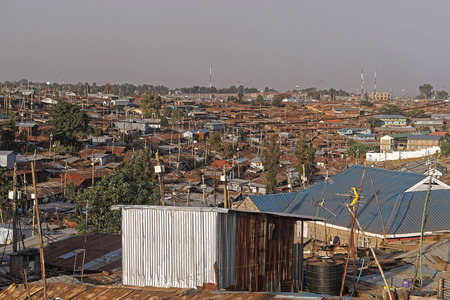 Kibera biggest slum in Africa Nairobi Kenya Stock Photo