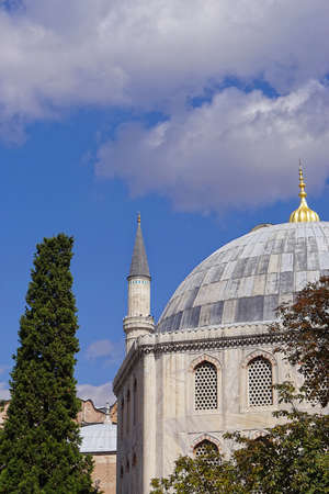 Mosque dome with golden top in Istanbul Turkey
