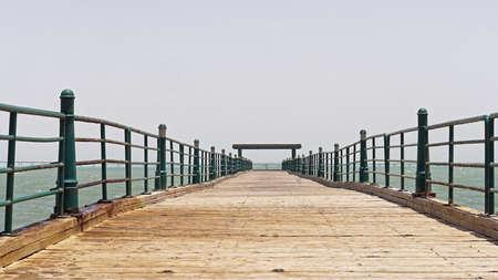 Long empty wooden pier in Kuwait