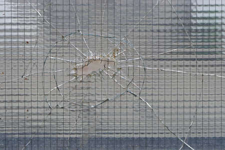Cracked safety tempered glass with big hole