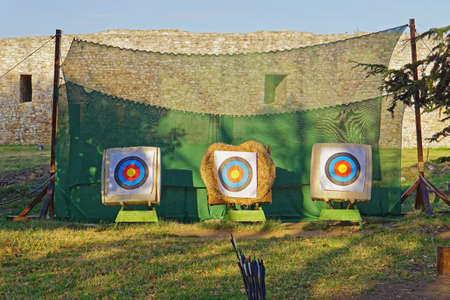 Three archery targets bullseye sports equipment with net 스톡 콘텐츠