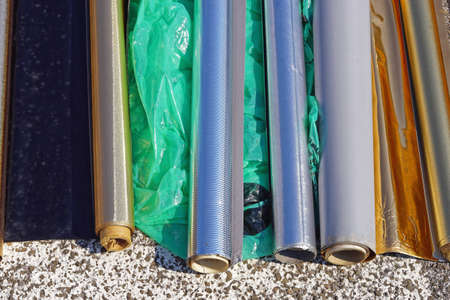 Various metallic material in rolls outside