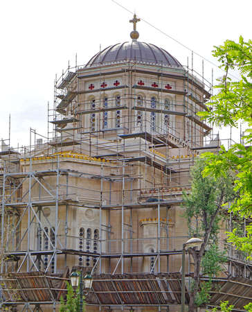 Orthodox Church reconstruction scaffoldings in Athens Greece