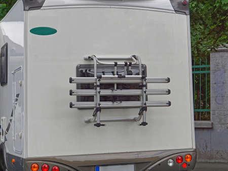 Bicycles carrier at back of camper van