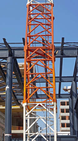 Crane column and steel metal construction for new skyscraper