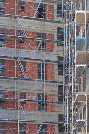 Scaffolding at new condo building construction site