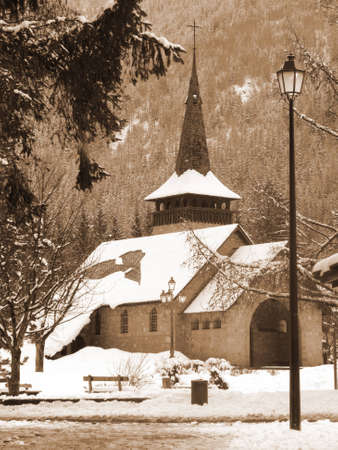 Small church in Chamonix in the winter, FranceSepia toning