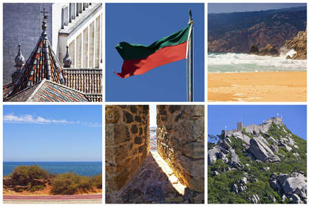 Collage with square pictures - Showplaces of Portugal