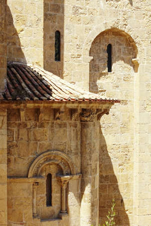 Fragment of facade with roof tile. Coimbra, Portugal Stock Photo