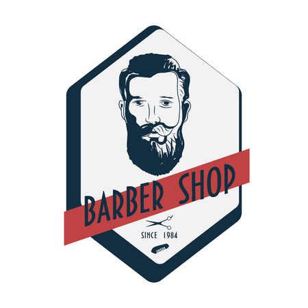 Barbershop vintage label with typography, hipster style bearded man head, barber comb and barber scissors.