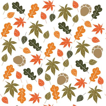 Seamless Autumn Foliage Pattern. Fall leaves Background.