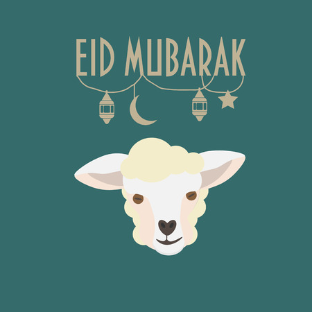Eid mubarak greeting card with sheep face or lamb head ramadan eid mubarak greeting card with sheep face or lamb head ramadan lanern moon and m4hsunfo