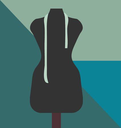 テイラーズのテイラー ショップや仕立て屋シンプルなポスターは洋裁フォームでダミーとしても知られている、バスト、ドレス フォーム、レイアウ 写真素材