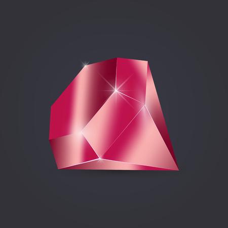 Rubin diamant geïsoleerd op een donkere achtergrond. Crystal vectorillustratie. Stockfoto