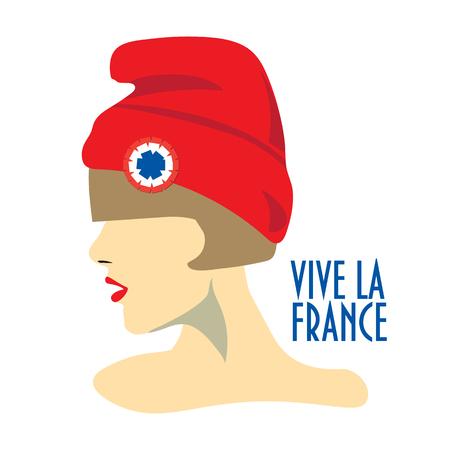 Diseño minimalista de la tarjeta de felicitación para el día de Bastille, día nacional francés. Texto en francés Long Life France. Una niña con sombrero rojo conocido también como gorra frigio o gorra de la libertad con escarapela tricolor.