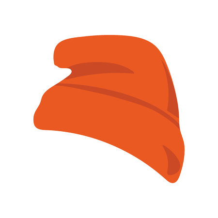Vector illustration: red beanie  hat or seamed cap, also known as knitted or knit cap isolated. Illustration