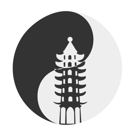 taijitu: Conceptual vector illustration for taoist community: taoist symbol Taijitu also known as ying yang and pagoda silhouette on it. Silhouette of a Pagoda from Cebu Taoist Temple.