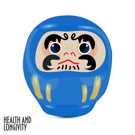 Vector illustration: blue  daruma doll or dharma doll.  Japanese traditional doll modeled after Bodhidharma, the founder of the Zen sect of Buddhism. Blue is for health and longevity. Çizim