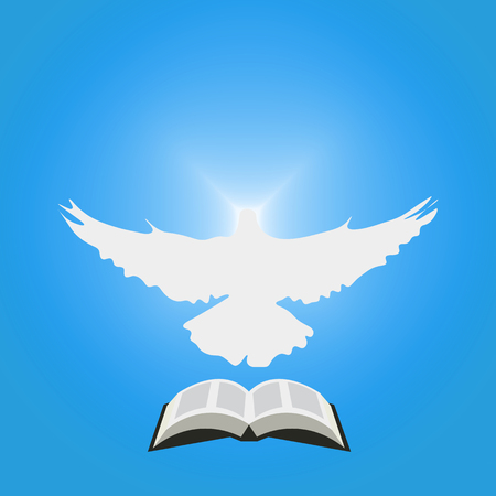 Illustration for Christian Community: Dove as Holy spirit and opened Bible. Great as church logo, illustration for sermon, oration, lecture, or pentecost talk.