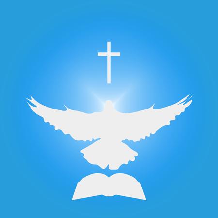 기독교 공동체를위한 그림 : 비둘기 성령, 십자가, 성경으로. 교회 로고, 설교, 연설, 강연, 또는 오순절 이야기를위한 삽화처럼 훌륭합니다.