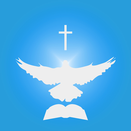 Illustration for Christian Community: Dove as Holy spirit, cross, Bible. Great as church logo, illustration for sermon, oration, lecture, or pentecost talk.