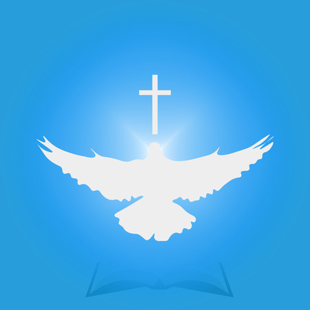 Illustration for Christian Community: Dove as Holy spirit and Cross. Great as church icon, illustration for sermon, oration, lecture, or pentecost talk. Stock Photo