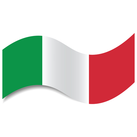 Waving Italian Flag or Italian Tricolour with a shadow made in a flat style isolated. Flag of Italy could be used as background, graphic element in vector illustrations, etc.