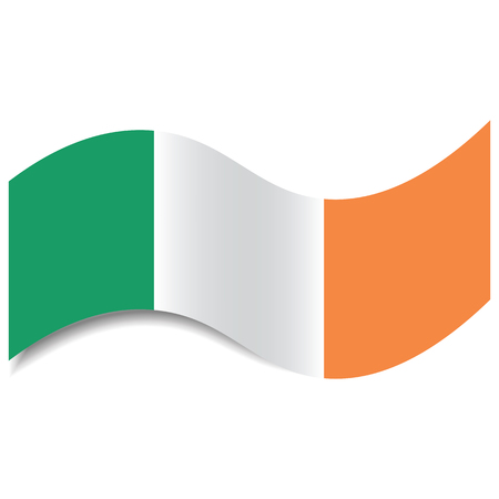 Waving Ireland Flag or Irish Tricolour with a shadow made in a flat style isolated. Flag of Ireland could be used as background, graphic element in vector illustrations, etc.