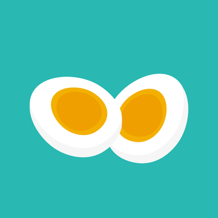 Vector flat style illustration. Hard Boiled egg slicedor cut into two halves isolated. Slices of an egg. Stock Illustration - 79985348