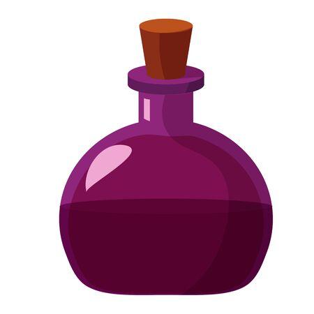 Frasco de poción. Ilustración plana de la historieta del alquimista o del cubilete mágico de la poción o del veneno. Genial como halloween o elemento de diseño de juegos.