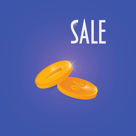 Sale promotion vector illustration: two gold coins with minus and percentage signs.