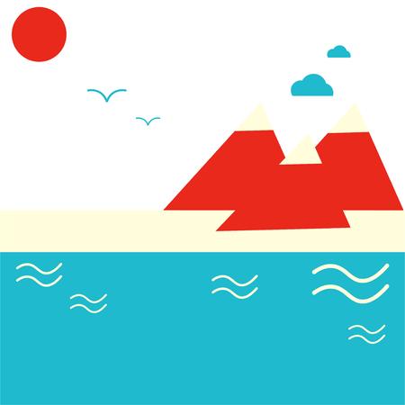 抽象的なミニマルなイラスト: 山と海辺や湖畔。海ビーチ リゾート ポスターまたはマウンテン リゾート プロモーションとして素晴らしい。