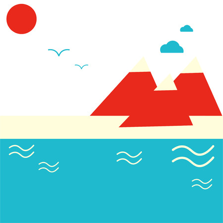 Abstract minimalistic illustration: Mountains and seaside or lakeside. Great as sea beach resort poster or mountain resort promotion. Summer recreation or vacation theme. Constructivism styled.