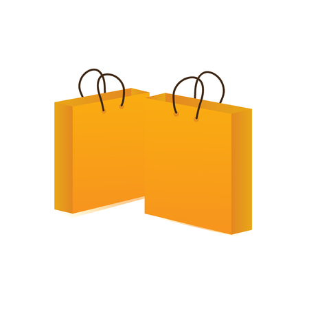 Yellow shop bag isolated. Vector icon of a paper shopping mall bags.