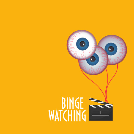 Illustration to promote Binge Watching or marathon viewing. Watching multiple episodes of tv show, movies or series in rapid succession, by means of digital streaming or on demand or subscription.