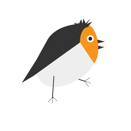 Cute small walking baby bird. Simple Childish geometric Vector Illustration in a flat cartoon style. Stock Photo